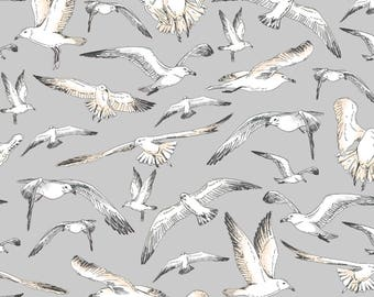 Beach Fabric Cotton Quilting High Tide Seagulls Gray 42815-2  (1/2 yd) cuts Quilting Sewing Crafting Fabrics Material Quilts