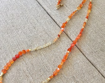Carnelian and citrine beaded necklace