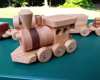 Train set wooden 6 car Handmade toy oak and mahogany Heirloom Quality  Beautifully hand finished. Ready to ship! Sale 40 off!