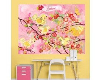 Pink and yellow cherry blossom birdies wall decals