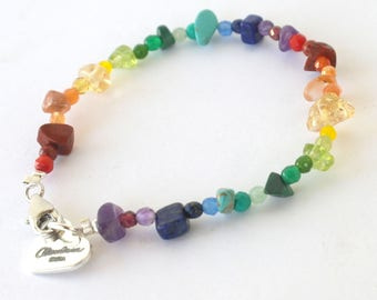Natures Rainbow Chakra Bracelet - Handmade In Ibiza with Pure Gemstone Chip Beads and Faceted Beads. Chakra Balance. Crystal Healing. 16cm