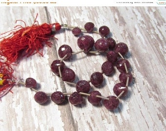 20% OFF SALE Natural Ruby Onion Briolette Beads , 7mm 8mm 10mm 12mm Onion Briolettes, 9 1/2 Inches