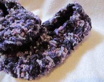 Purple Plush Ballerina Slippers, Ballet Slippers, Plush Slippers, Women Slippers