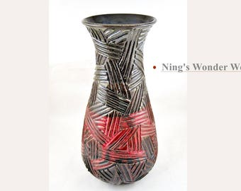Tall Pottery Vase Large Stoneware Flower Vase Handmade brown and red Ceramic Vase Pottery - In stock 140 V