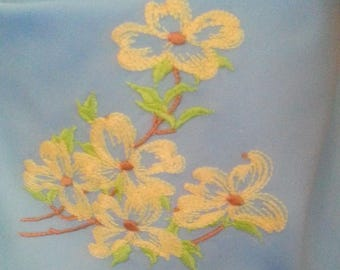 Machine embroidered bandana - Yellow flowers on light blue- with or without velcro closure- trach stoma covers
