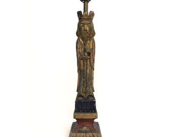 Ackerman Style Large King Carved Wood Table Lamp