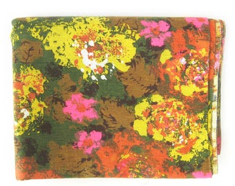 MOD Vintage FLORAL Upholstery Weight Fabric - Yellow Orange Hot Pink Green Floral  / By the Yard