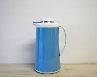 retro robins egg blue and white vintage Thermos / coffee carafe /