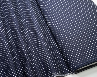Cotton Fabric mididots white on dark blue 0.54yd (0,5m) 003950