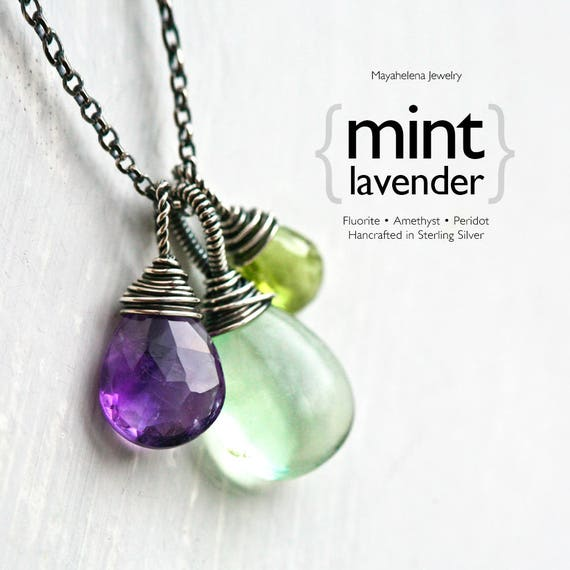 Mint Lavender Gemstone Trio - Green Fluorite, Amethyst and Peridot Sterling Silver Wire Wrapped Necklace
