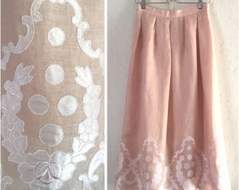 Romantic Blush Pink Linen Skirt w Embroidery