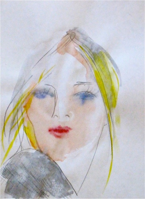 Barely there portrait- original watercolor portrait painting by Gretchen Kelly