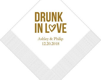 100 Drunk in Love Personalized Custom Wedding Cocktail Napkins Favors Decor Jenuine Crafts