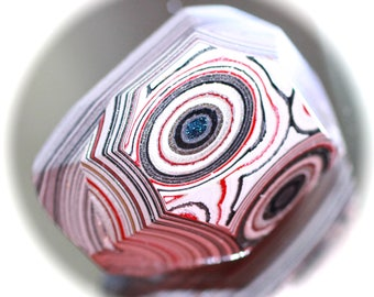 Button ~ Fordite or Detroit Agate, 2 Different Pieces Laminated Together of Enamel Layered Paint, Hand-Faceted - Made By KPHoppe - Medium