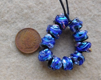10 Bright Peacock Mini Baroque Dichroic Lampwork Beads by Dee Howl Beads