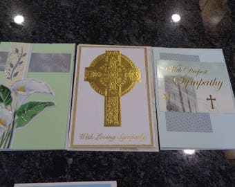 Five recycled religious sympathy cards