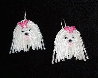 Beaded MALTESE bead embroidery earrings - sterling silver dangly dog art jewelry (Made to Order)