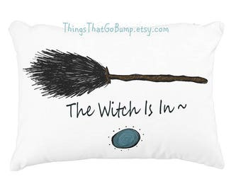 The witch is in broomstick pillow Halloween pillow full moon witch pillow custom toss pillow made to order personalize or not witches broom