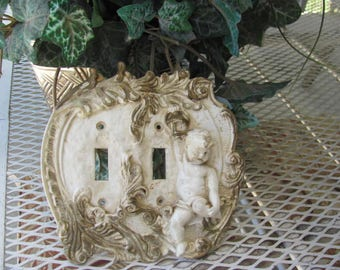 Cottage Chic Cherub Light Switch Plate Cover...One of a Kind ...Double switch plate cover