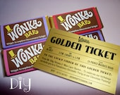 Willy Wonka birthday party Wonka Bar & Golden Ticket invitations Wonka candy bar wrappers Willy Wonka invitation printable PuRPLe PiNK ReD