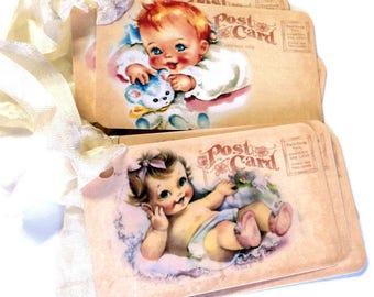 8 Vintage Baby Gift Tags, Hang Tags, Baby Shower Tags, Party Favor Tags