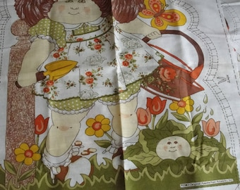 1983 fabric panel for Cabbage Patch Kid pillow Brown haired girl cotton fabric