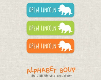 72 personalized dishwasher safe triceratops dinosaur labels | choose colors and fonts | microwave safe and waterproof