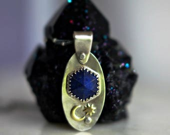 Star Stuff Celestial Pendant with Lapis Lazuli, Sterling Silver Necklace