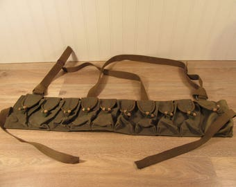 WWII Asian green canvas military ammo belt- militaria- military ammo belt- nice condition