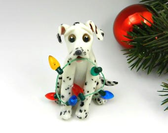 Dalmatian Christmas Ornament Figurine Lights Porcelain