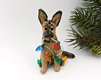 German Shepherd Dog Christmas Ornament Figurine Lights Porcelain