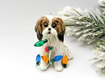 Havanese Sable White Christmas Ornament Porcelain Clay Figurine Lights