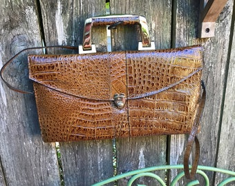 Amelia Berko Greek 70s Top Handle Faux Croc Leather Bag