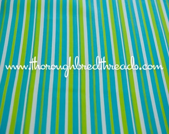 Summer Stripes - Vintage Fabric New Old Stock Turquoise Lime Green