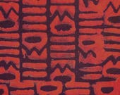 Tanzanian cotton batik - 1/2 yard of bright red Stacks