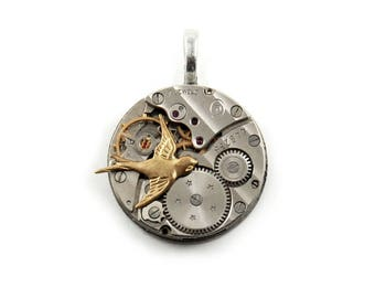 Steampunk Watch Movement Pendant - 26mm Round Shape - Vintage 1900's - with 17 Ruby Jewels, Pinstripes, Brass Bird, Stars, and Bail