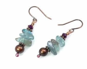 Blue-Green Apatite & Burgundy Pearl Dangle Earrings: Healing Crystal Gemstone Nuggets, Maroon, Nickel Free Hypoallergenic Copper or Silver