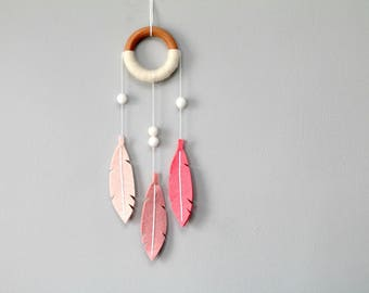 Pink Nursery Dream Catcher. NurseryWall Hanging. Boho Chic Dreamcatcher. Felt Dreamcatcher. Coral Ombre Decor for Baby Girl.