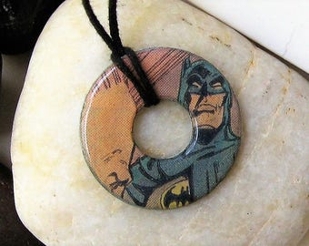 BATMAN Vintage Upcycled Comic Book Hardware Washer Pendant Necklace DC Comics