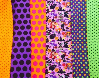 Fat Half 36x30 each bundle total of 3 yards Halloween cotton lycra knits