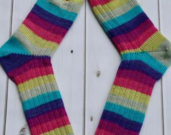Handmade Knit Socks, Size Medium US