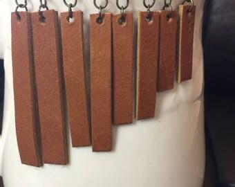 LEATHER Earrings, Leather Bar Earrings, Leather Drop Earrings, Joanna Gaines Inspired, BROWN Leather, Inspired by Joanna Gaines Jewelry