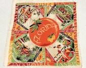 Vintage Souvenir Scarf Florida Art Deco Oranges