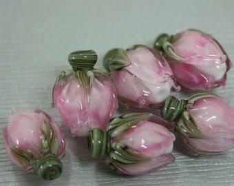 Variegated Pink Rosebud Handmade Lampwork Flower Beads SRA FHF