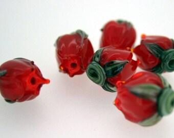 Bright Red Rosebud Handmade Lampwork Flower Beads SRA FHF Made to Order