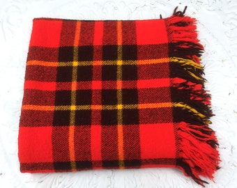 """Vintage """"Faribo"""" Soft Plaid Acrylic Blanket, """"Fluff-Loomed"""", Red, Black and Gold"""