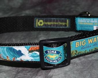 Aloha!! Adjustable Dog Collar from Recycled Kona Big Wave Beer Labels