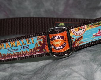 Adjustable Dog Collar from Recycled Kona Brewing Hanalei Island IPA Beer Labels