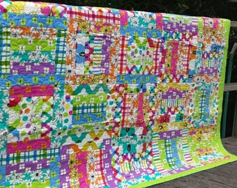 Bright floral quilt lime green purple pink flowers watercolor girl blanket bed log cabin multicolor rainbow