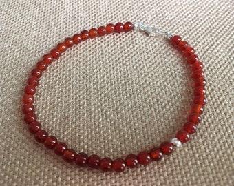 Semiprecious Carnelian Bracelet, Stacking Bracelet Natural Orange Rust Bracelet Asymmetrical Beaded Bracelet Womens Mens Fathers Day
